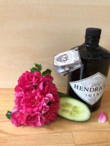 Hendricks Gin mit Gurke und Rosenblüte