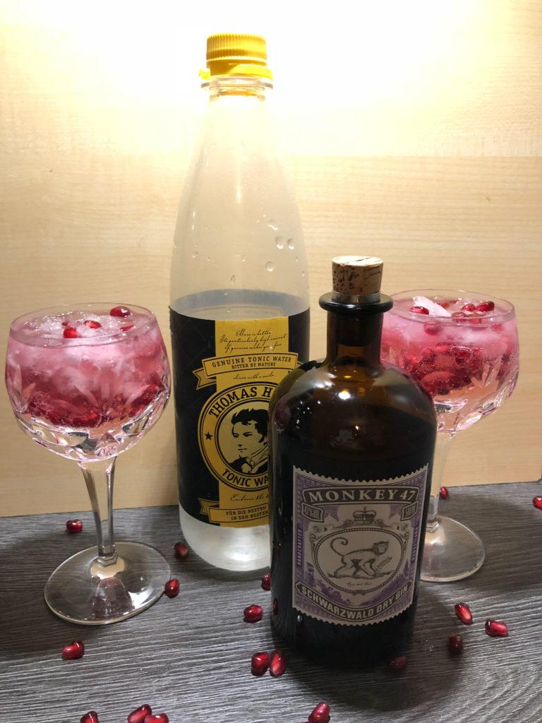 Ginlongdrink, GINfektion, Gintonic, Monkey 47 Gin, Thomas Henry Tonic Water, Granatapfelkerne