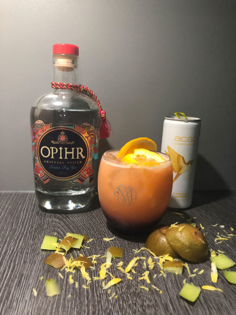 Gincocktail, GINfektion, Gin-Acao Cocktail, Acao maracuja Ingwer, OPIHR Gin, OPIHR cocktail, Kiwi,