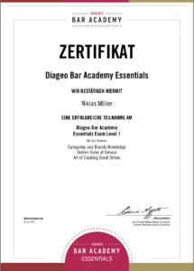 Zertifikat Diageo Bar Academie