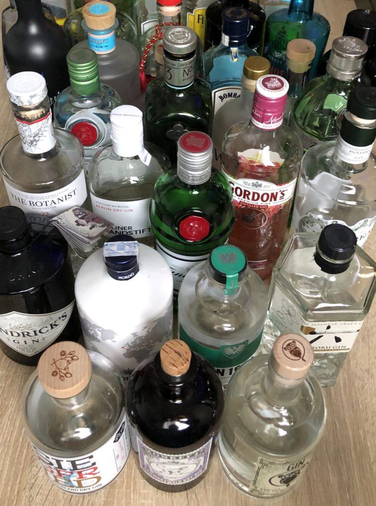 verschiedene Gins, Ginflaschen, Ginvielfalt, Gins auf einem Blick